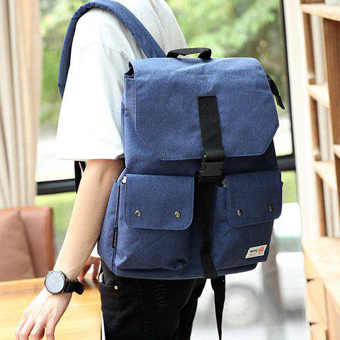 Outfit Casual Pocket and Canvas Design Backpack For Men - BLUE  Mobile