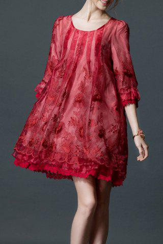 Affordable Embroidered Layered Organza Dress