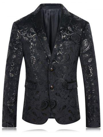 Shops Golden Flower Print Lapel Long Sleeve Blazer For Men - 4XL BLACK Mobile