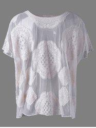 Fashionable Scoop Neck Lace Batwing Sleeves Blouse For Women -
