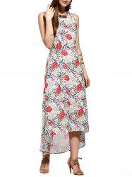 Fashionable U-Neck Floral Printed Chiffon Mid-Calf Dress