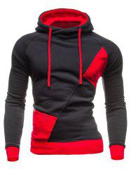 Color Block Spliced Hooded Drawstring Zipper Design Long Sleeve Men's Hoodie