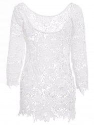 Sexy Round Neck 3/4 Sleeve Cut Out Crochet Women's Cover Up - WHITE L