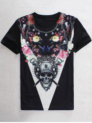 Slimming Round Neck 3D Flower Skull Print Short Sleeve Men's Graphic T-Shirt