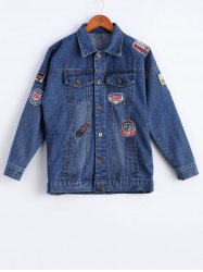 Chic Long Sleeve Applique Denim Jacket For Women -