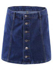 Stylish High-Waisted Button Down Fly A-Line Denim Skirt