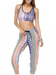 Fashionable Scoop Neck Printed Tank Top and Drawstring Pencil Pants Set For Women -