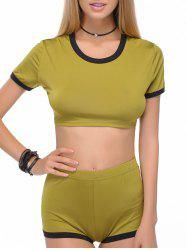 Stylish Scoop Neck Short Sleeve Crop Top and Shorts Set For Women -