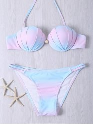 Alluring Halter Neck Beaded Color Ombre Bikini Set