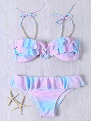 Cute Spaghetti Strap Flounced Beaded Color Ombre Bikini Set - COLORMIX 2XL