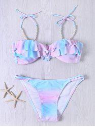 Sweet Spaghetti Strap Flounced Beaded Color Ombre Bikini Set