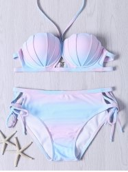 Cute Halter Neck Self Tie Ombre Design Bikini Set -