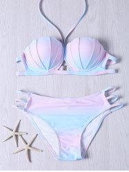 Sweet Halter Neck Ombre Design Bikini Set -