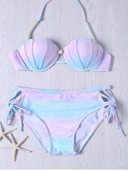 Sweet Beaded Halter Neck Ombre Design Bikini Set