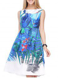 Vintage Floral Print High Waist Sleeveless Dress For Women -