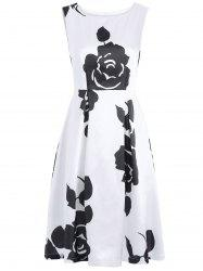 Vintage Round Neck Sleeveless Floral Print Dress -