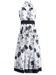 Vintage Halter Neck Floral Print Women's Flare Dress