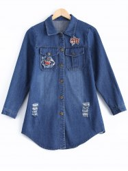 Ripped Embroidery Button Design Denim Shirt -