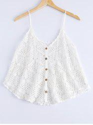 Loose-Fitting Openwork Spaghetti Strap Tank Top For Women -