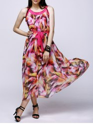 Bohemian Feathers Print Chiffon Maxi Swing Beach Dress -