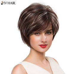Fashion Women's Short Shaggy Side Bang Siv Human Hair Wig - COLORMIX