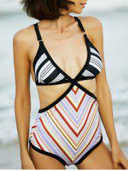 Stylish Cut Out Geometrical Print One Piece Swimwear For Women