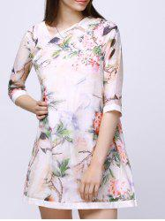 Bird Floral Print Gauze Dress