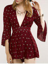 Stylish Women's Plunging Neck Printed Flare Sleeve Romper -