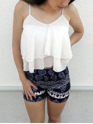 Stylish White Flounced Tank Top and Printed Shorts Women's Twinset - WHITE