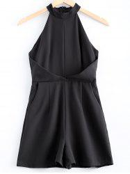 Simple Sleeveless Stand Collar Romper For Women -