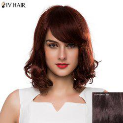 Shaggy Wave Side Bang Siv Hair Capless Fashion Medium Human Hair Wig For Women - RED MIXED BLACK