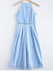 Fashionable Openwork Lace Splicing Jumpsuit For Women -