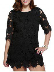 Stylish Plus Size Floral Pattern Lace Overlay Dress For Women