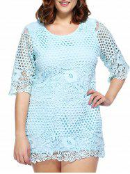 Stylish Plus Size Cutwork Lace Overlay Dress For Women -