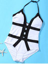 Alluring Halter Cut Out Banded One-Piece Swimwear For Women -