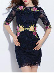 Trendy Embroidered Lace Bodycon Dress - PURPLISH BLUE XL
