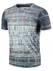 Round Neck 3D Letter and Brick Print Short Sleeve T-Shirt For Men -