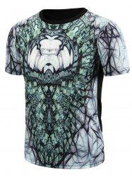 Round Neck 3D Abstract Geometric Print Short Sleeve T-Shirt For Men - COLORMIX 2XL