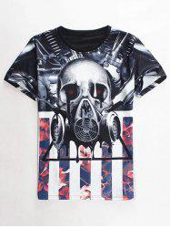 Slimming Round Neck 3D Mechanical Skull Print Short Sleeve Men's Graphic T-Shirt