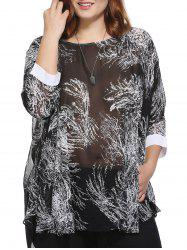 Stylish Loose-Fitting Scoop Neck Tree Print Top For Women - BLACK ONE SIZE(FIT SIZE L TO 3XL)