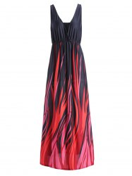 Plus Size Plunging Neck Maxi Formal Party Dress