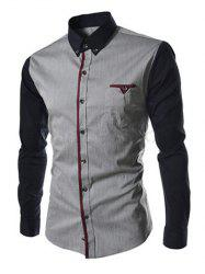 Casual Color Block Button-down Long Sleeves Shirts For Men - DEEP GRAY