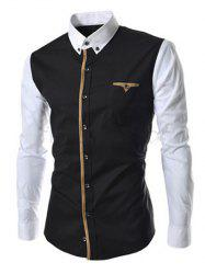 Casual Color Block Button-down Long Sleeves Shirts For Men - BLACK