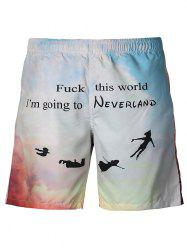 Casual Letters Printing Straight Leg Lace Up Boardshorts -