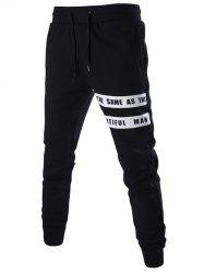 Lace-Up Slimming Letter Print Beam Feet Pants For Men -