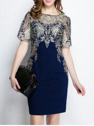 Short Sleeve Embroidered Bodycon Dress