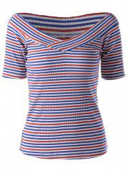 Fashionable Stripe Knitting Tee For Women - COLORMIX M