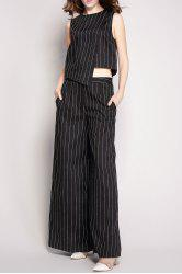 Striped Pockets Wide Leg Pants -