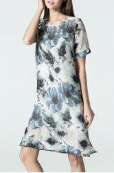 Flower Print Slit Dress - PURPLISH BLUE