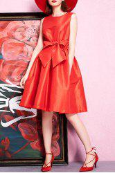 Bowknot Solid Color Sleeveless Dress -
